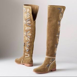 Frye Embroidered Suede boots. NIB